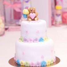 Gâteau Baby Shower Ourson Fleurs Multicouleurs
