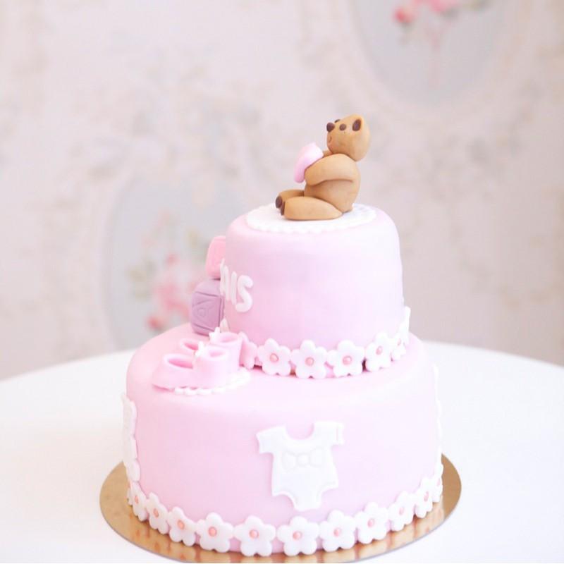 Gâteau Baby Shower Ourson & Coeur - Fille - Debogato Paris