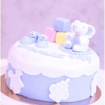 Gâteau Baby Shower Eléphant Cubes Chaussons