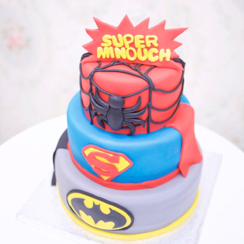gteau superhros batman superman spiderman - Gateau Super Heros