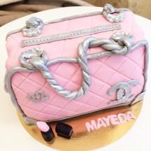 Gâteau couture sac rose et argent