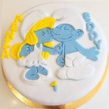 Gâteau Schtroumpf et Schtroumpfette