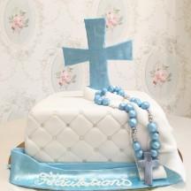 Gâteau Baptême Croix et chapelet