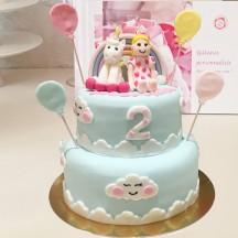Gâteau Licorne et petite fille