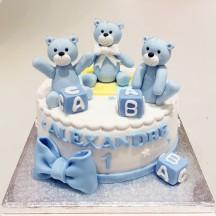 Gâteau Oursons Bleus et Cubes
