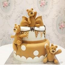 Gâteau Ours Beige et Noeud