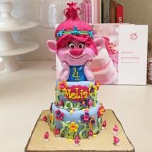 Gâteau Trolls Tête de Poppy