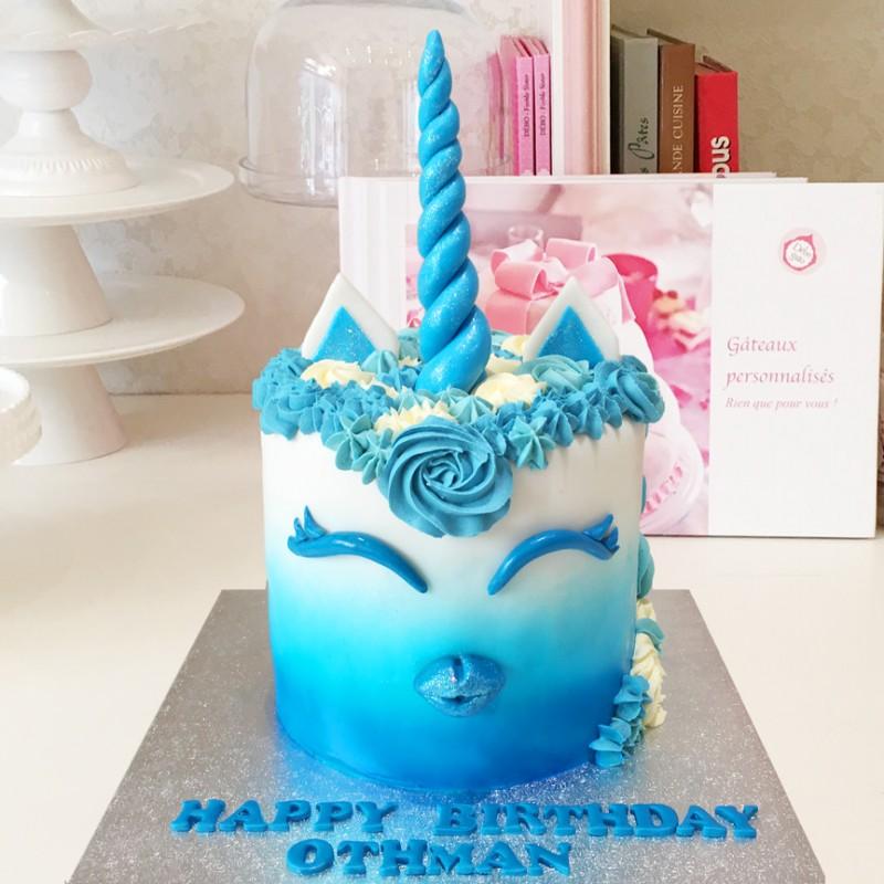 Gâteau Licorne Bleue