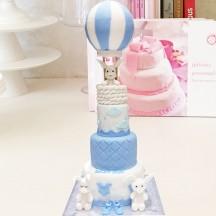 Gâteau Lapin Montgolfiere Bleu