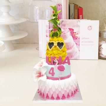 Gâteau Ananas Hibiscus et Flamingo
