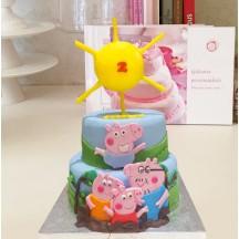 Gâteau Peppa Pig Georges et Soleil