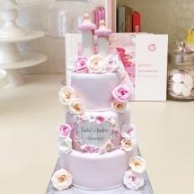 Gâteau Baby Shower Biberon et fleurs