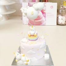 Gâteau Licorne montgolfiere rose nuage