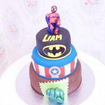 Gâteau Superhéros - Spiderman, Batman & Captain America