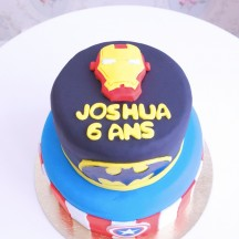 Gâteau Superhéros - Batman, Captain America & Iron Man